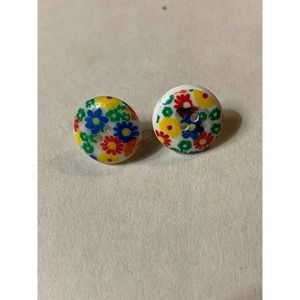 vintage Groovy earring floral button boho
